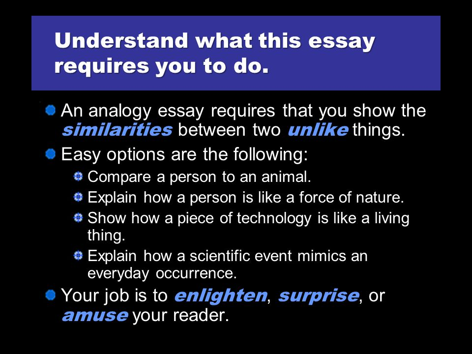 Understand what this essay requires you to do.