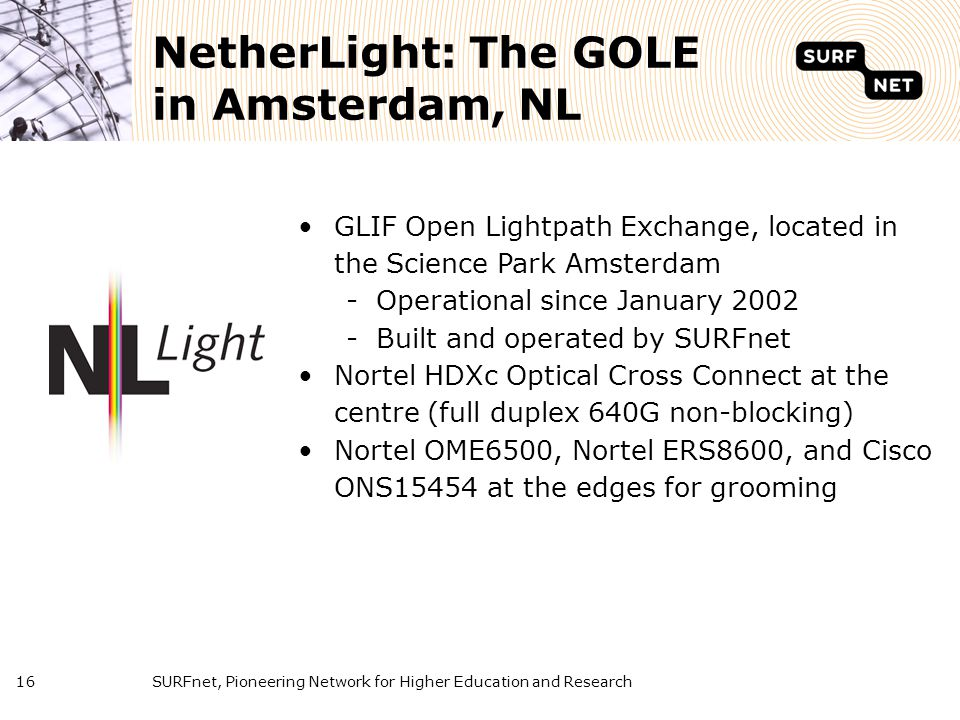 SURFnet, Pioneering Network for Higher Education and Research16 NetherLight: The GOLE in Amsterdam, NL GLIF Open Lightpath Exchange, located in the Sc