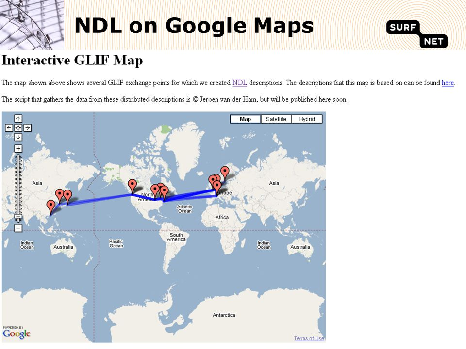 SURFnet, Pioneering Network for Higher Education and Research22 NDL on Google Maps