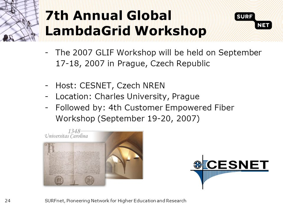 SURFnet, Pioneering Network for Higher Education and Research24 7th Annual Global LambdaGrid Workshop -The 2007 GLIF Workshop will be held on Septembe