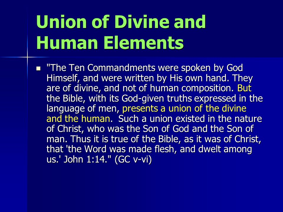 Union of Divine and Human Elements