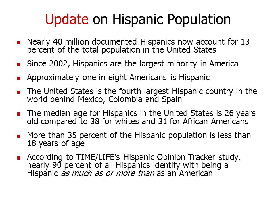 Update on Hispanic Population Nearly 40 million documented Hispanics now account for 13 percent of the total population in the United States Since 2002, Hispanics are the largest minority in America Approximately one in eight Americans is Hispanic The United States is the fourth largest Hispanic country in the world behind Mexico, Colombia and Spain The median age for Hispanics in the United States is 26 years old compared to 38 for whites and 31 for African Americans More than 35 percent of the Hispanic population is less than 18 years of age According to TIME/LIFE's Hispanic Opinion Tracker study, nearly 90 percent of all Hispanics identify with being a Hispanic as much as or more than as an American