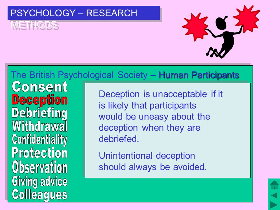 PSYCHOLOGY – RESEARCH METHODS Human Participants The British Psychological Society – Human Participants Deception is unacceptable if it is likely that participants would be uneasy about the deception when they are debriefed.