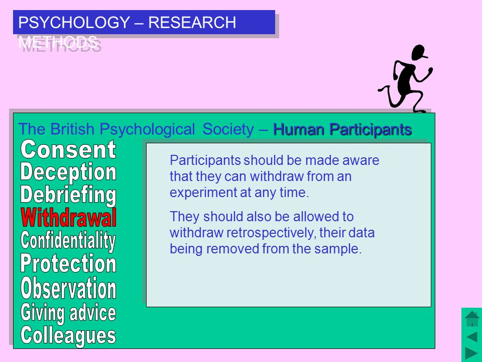 PSYCHOLOGY – RESEARCH METHODS Human Participants The British Psychological Society – Human Participants Experimental data should be confidential subject to the constraints of the data protection act and other legislation.
