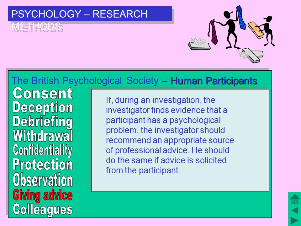 PSYCHOLOGY – RESEARCH METHODS Human Participants The British Psychological Society – Human Participants Any psychologist, aware that a collaborator, assistant, student or employee is not following the guidelines, should encourage that person to re-evaluate their research.