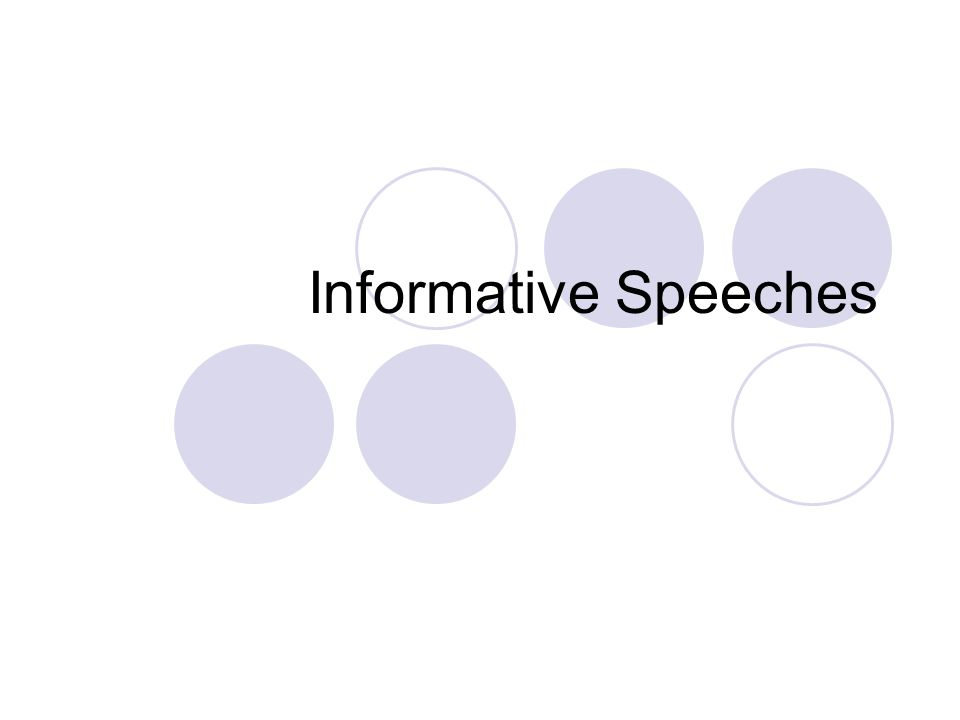 Informative Speeches. Informative Speech Assignment Refer To