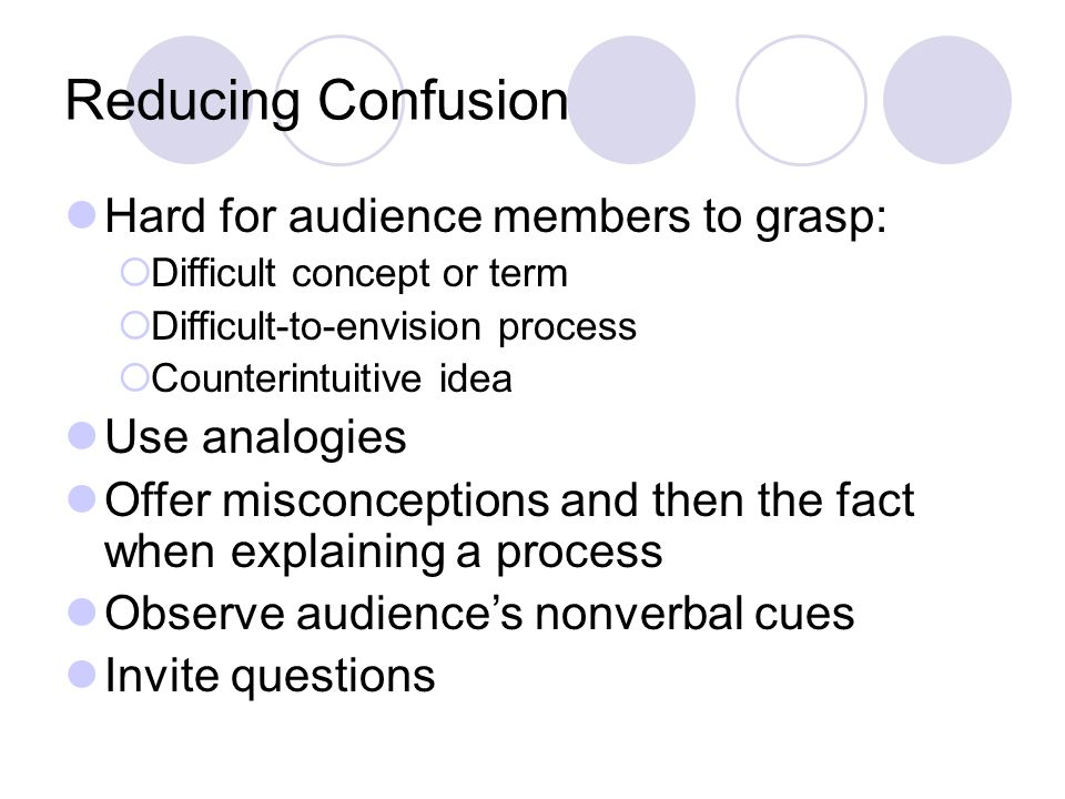 Reducing Confusion Hard for audience members to grasp:  Difficult concept or term  Difficult-to-envision process  Counterintuitive idea Use analogies Offer misconceptions and then the fact when explaining a process Observe audience's nonverbal cues Invite questions