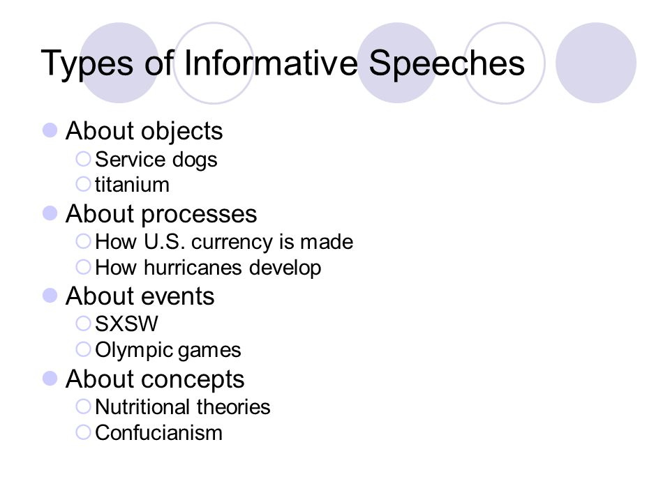 Types of Informative Speeches About objects  Service dogs  titanium About processes  How U.S.