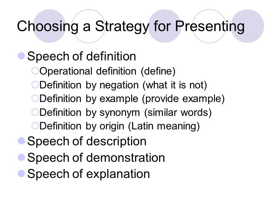 Choosing a Strategy for Presenting Speech of definition  Operational definition (define)  Definition by negation (what it is not)  Definition by example (provide example)  Definition by synonym (similar words)  Definition by origin (Latin meaning) Speech of description Speech of demonstration Speech of explanation