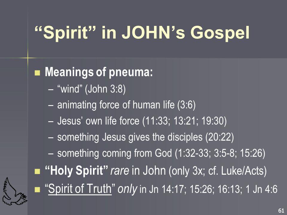 "61 ""Spirit"" in JOHN's Gospel Meanings of pneuma: – –""wind"" (John 3:8) – –animating force of human life (3:6) – –Jesus' own life force (11:33; 13:21; 1"