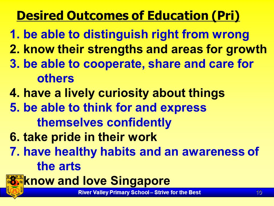 River Valley Primary School – Strive for the Best 10 Desired Outcomes of Education (Pri) 1.
