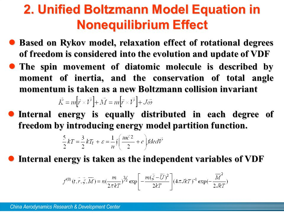 2. Unified Boltzmann Model Equation in Nonequilibrium Effect lBased on Rykov model, relaxation effect of rotational degrees of freedom is considered i