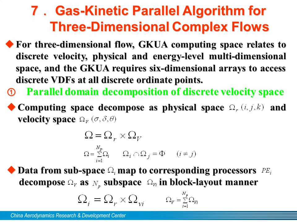  Computing space decompose as physical space and velocity space 7 . Gas-Kinetic Parallel Algorithm for Three-Dimensional Complex Flows  For three-di