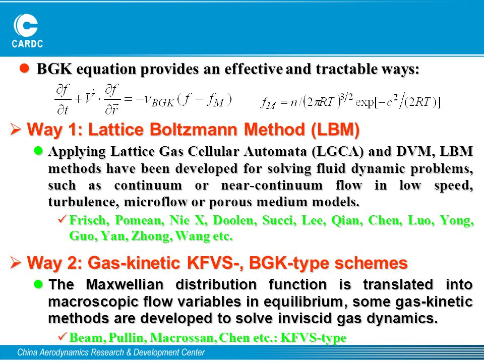  Way 1: Lattice Boltzmann Method (LBM) Applying Lattice Gas Cellular Automata (LGCA) and DVM, LBM methods have been developed for solving fluid dynam