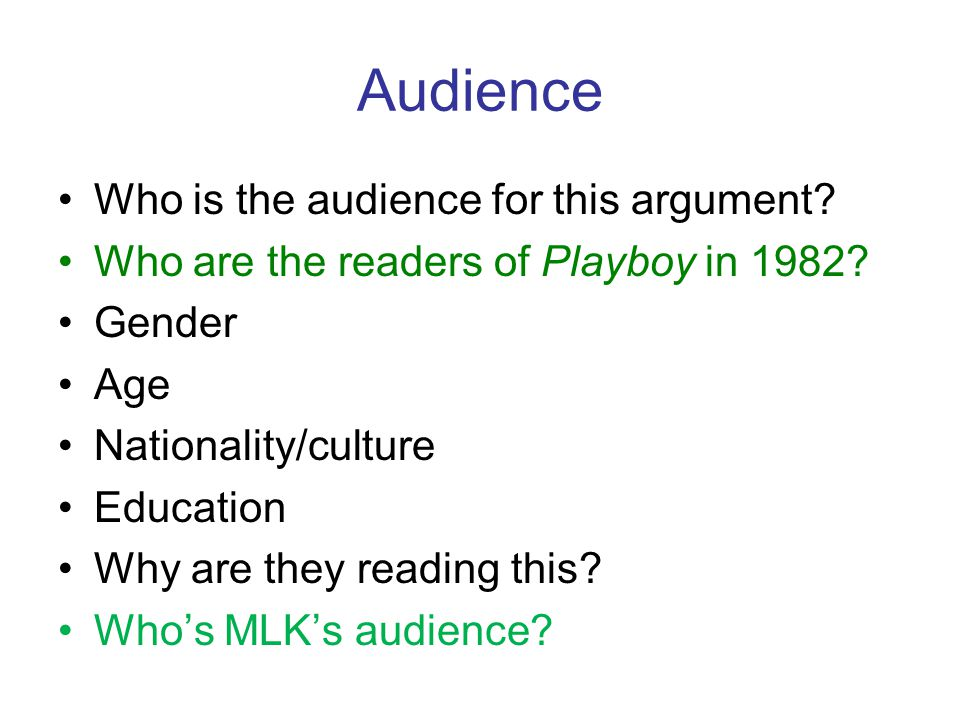 Audience Who is the audience for this argument. Who are the readers of Playboy in 1982.