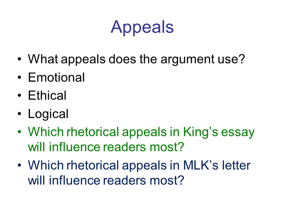 Appeals What appeals does the argument use.
