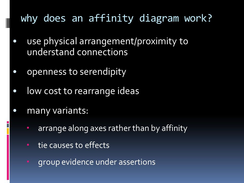 why does an affinity diagram work.