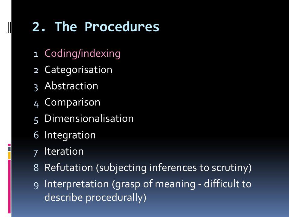 2. The Procedures 1 Coding/indexing 2 Categorisation 3 Abstraction 4 Comparison 5 Dimensionalisation 6 Integration 7 Iteration 8 Refutation (subjectin
