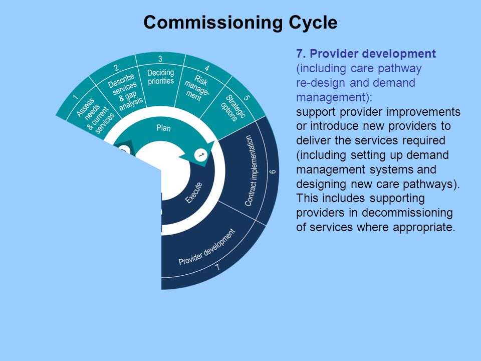 7. Provider development (including care pathway re-design and demand management): support provider improvements or introduce new providers to deliver