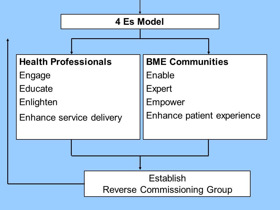 Health Professionals Engage Educate Enlighten Enhance service delivery BME Communities Enable Expert Empower Enhance patient experience Establish Reverse Commissioning Group 4 Es Model