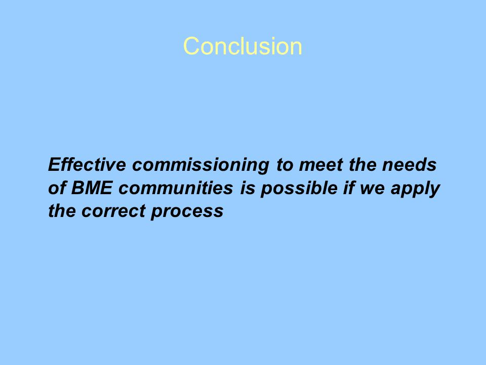 Conclusion Effective commissioning to meet the needs of BME communities is possible if we apply the correct process