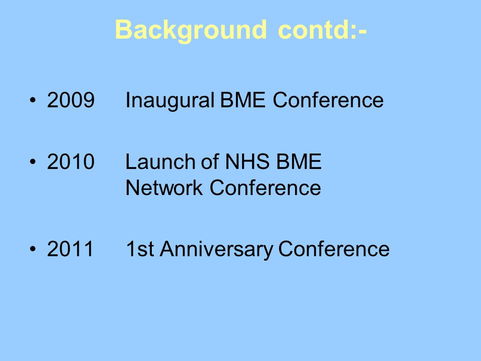 Background contd:- 2009Inaugural BME Conference 2010Launch of NHS BME Network Conference 20111st Anniversary Conference
