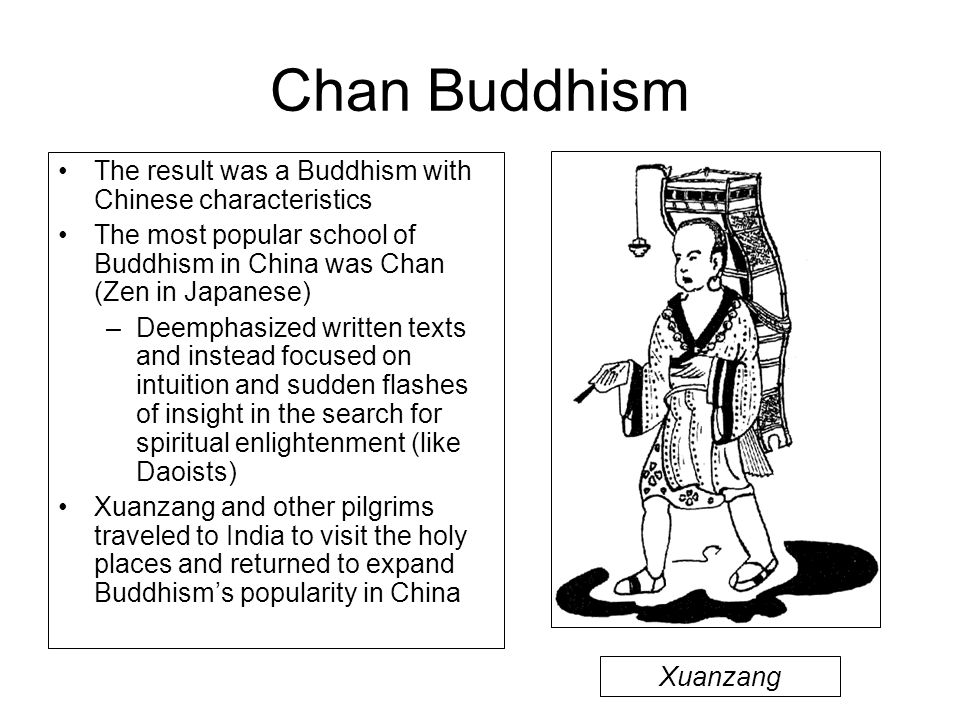Chan Buddhism The result was a Buddhism with Chinese characteristics The most popular school of Buddhism in China was Chan (Zen in Japanese) –Deemphas