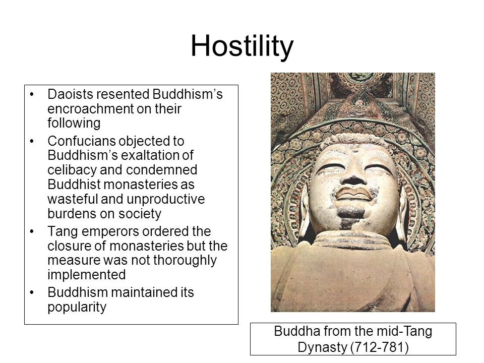 Hostility Daoists resented Buddhism's encroachment on their following Confucians objected to Buddhism's exaltation of celibacy and condemned Buddhist
