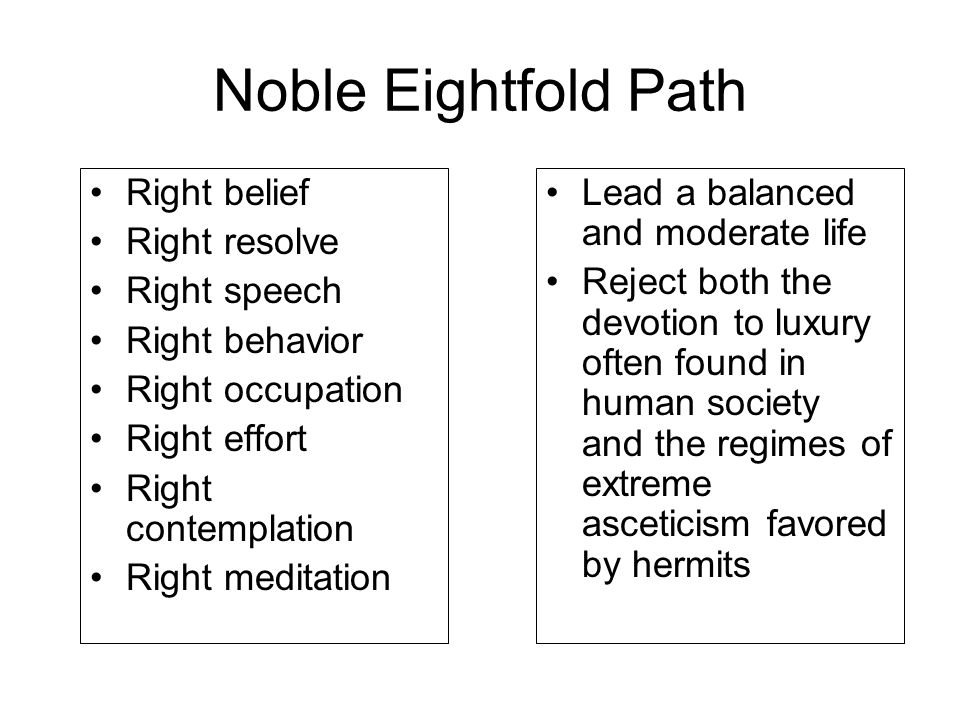 Noble Eightfold Path Lead a balanced and moderate life Reject both the devotion to luxury often found in human society and the regimes of extreme asce