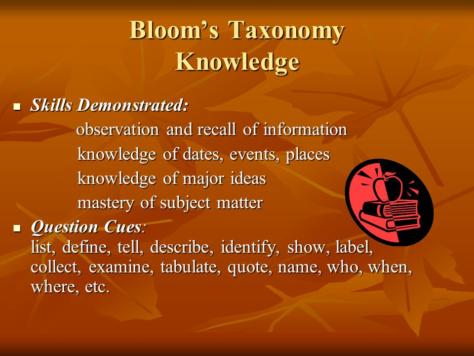 Bloom's Taxonomy Knowledge Skills Demonstrated: Skills Demonstrated: observation and recall of information observation and recall of information knowl