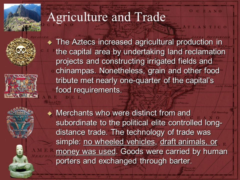 Agriculture and Trade  The Aztecs increased agricultural production in the capital area by undertaking land reclamation projects and constructing irr