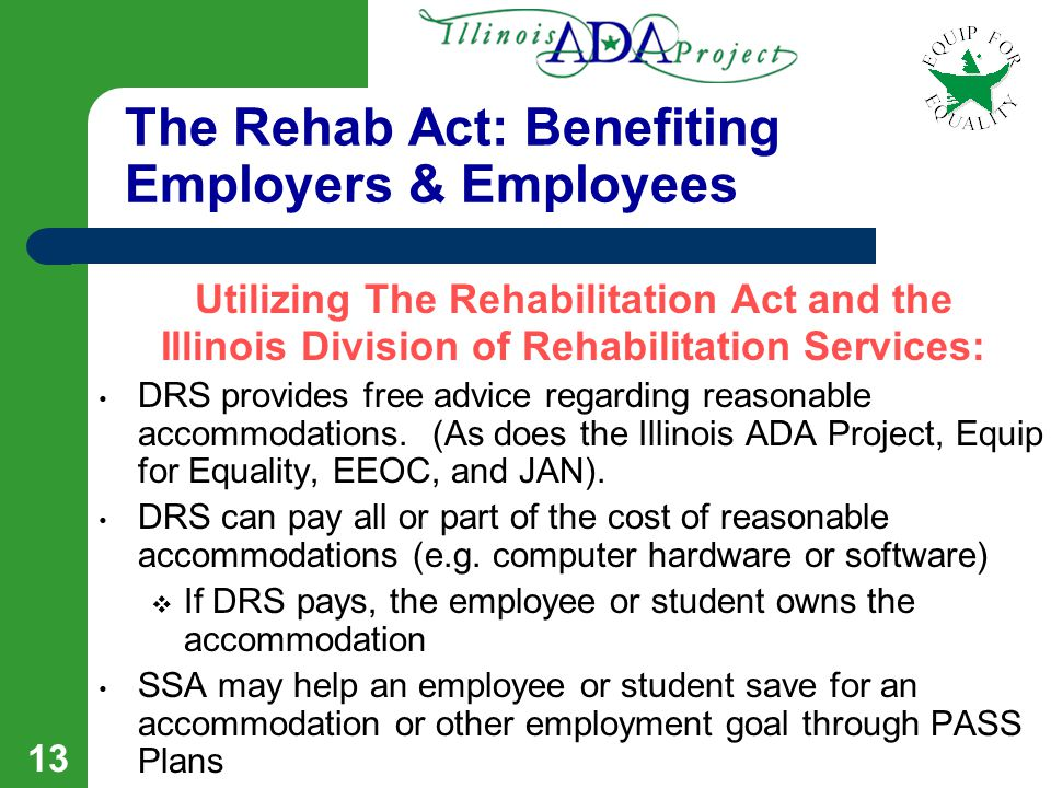 12 Vocational Rehabilitation Services DRS provides the following work-related services for individuals with disabilities: Career counseling, job placement, and job training Supported employment services such as a job coach Interpreters, note takers, readers, attendants,...