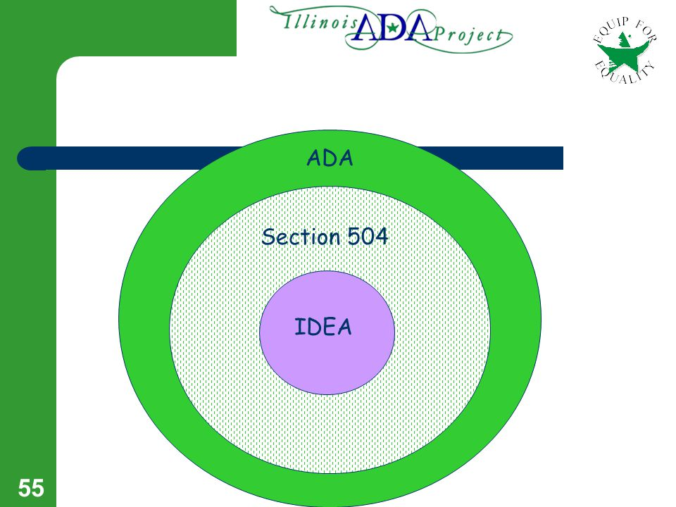 54 IDEA, ADA, & Section 504 IDEA is a law which mandates access to a free appropriate public education for qualified individuals with disabilities.