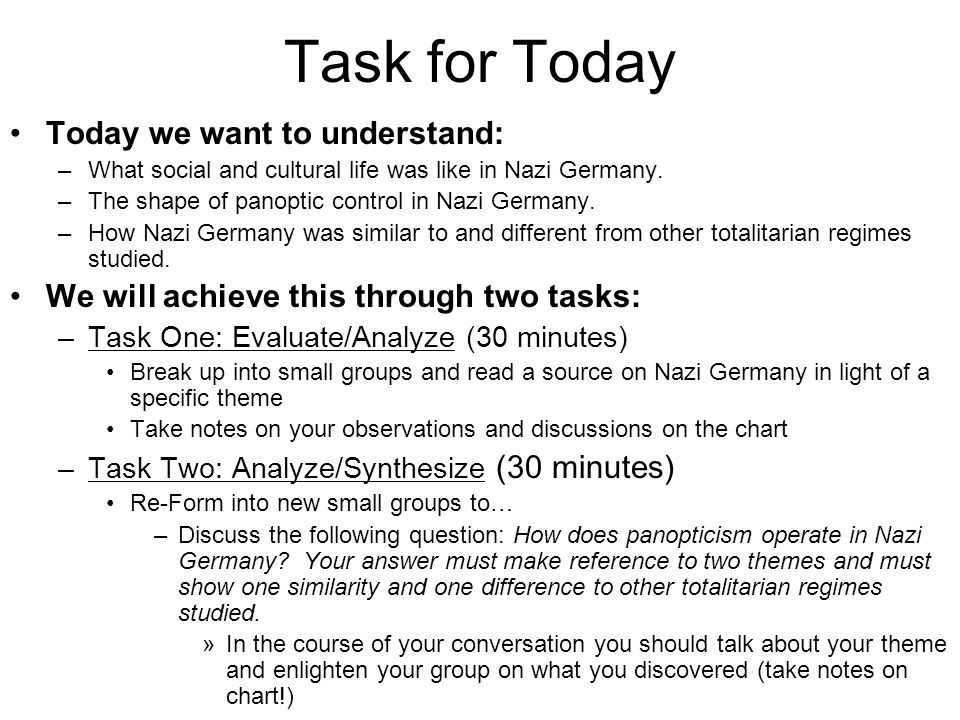 Task for Today Today we want to understand: –What social and cultural life was like in Nazi Germany.