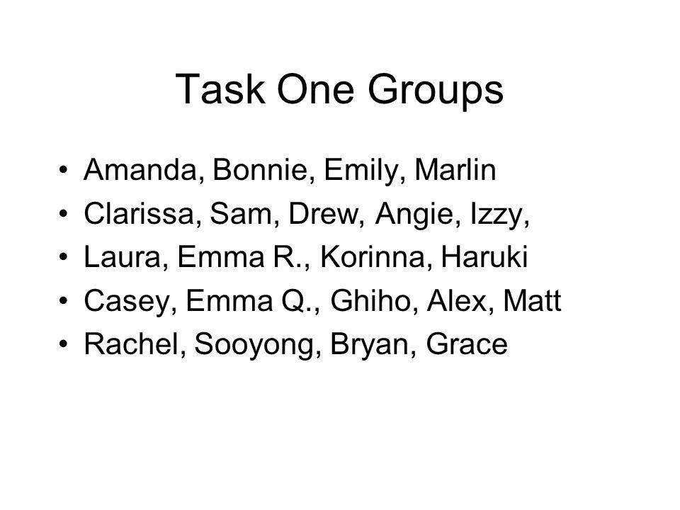 Task One Groups Amanda, Bonnie, Emily, Marlin Clarissa, Sam, Drew, Angie, Izzy, Laura, Emma R., Korinna, Haruki Casey, Emma Q., Ghiho, Alex, Matt Rachel, Sooyong, Bryan, Grace