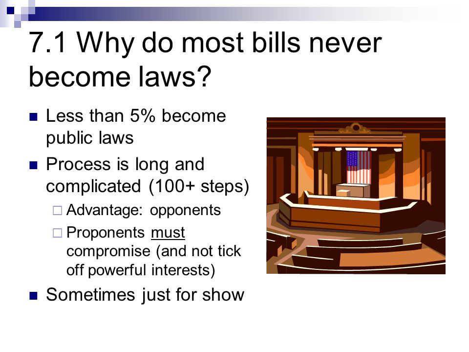7.1 Why do most bills never become laws.