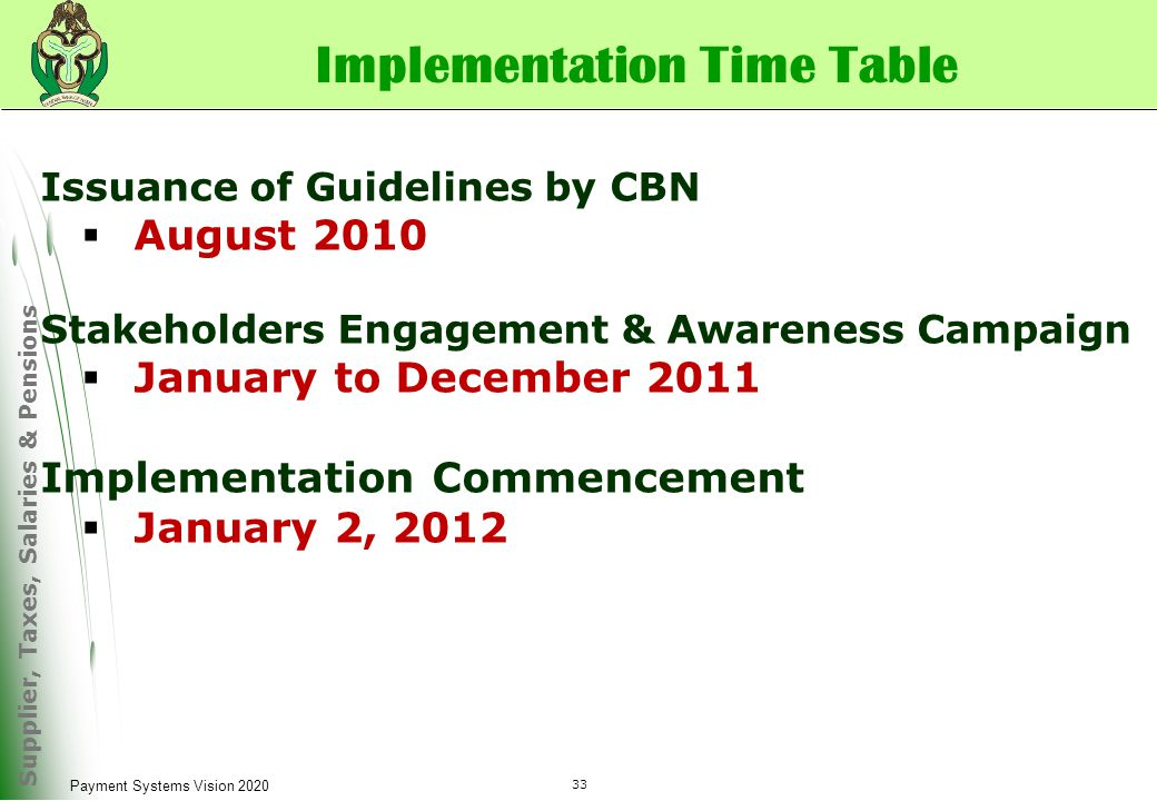 Supplier, Taxes, Salaries & Pensions 33 Payment Systems Vision 2020 Implementation Time Table Issuance of Guidelines by CBN  August 2010 Stakeholders Engagement & Awareness Campaign  January to December 2011 Implementation Commencement  January 2, 2012