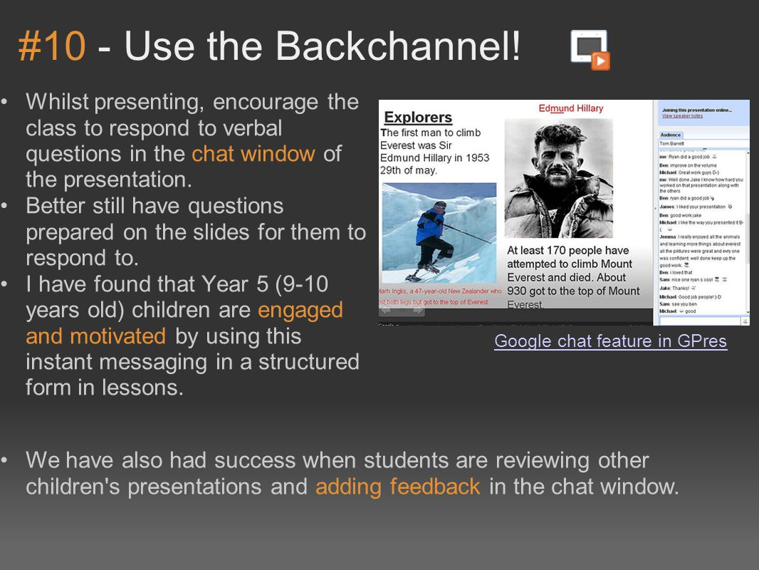 #10 - Use the Backchannel.