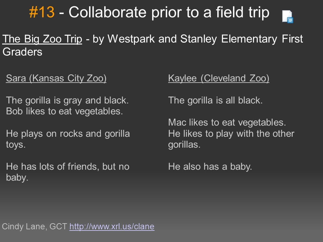 #13 - Collaborate prior to a field trip The Big Zoo Trip - b y Westpark and Stanley Elementary First Graders Cindy Lane, GCT http://www.xrl.us/claneht
