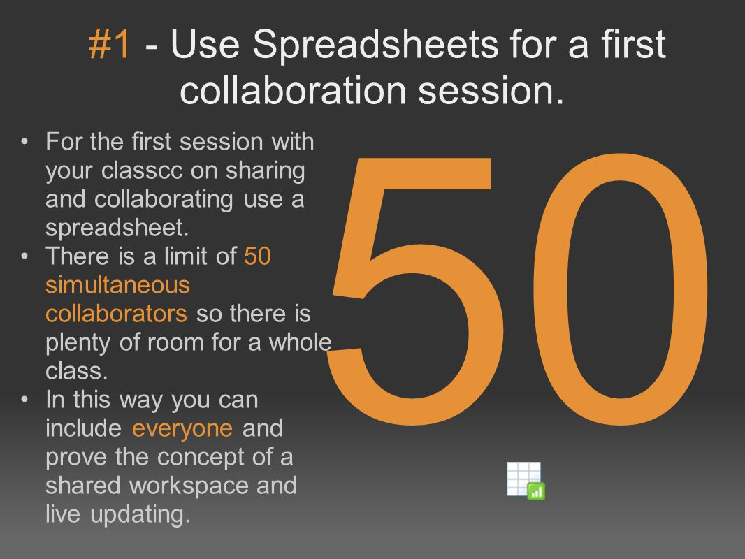 #1 - Use Spreadsheets for a first collaboration session.