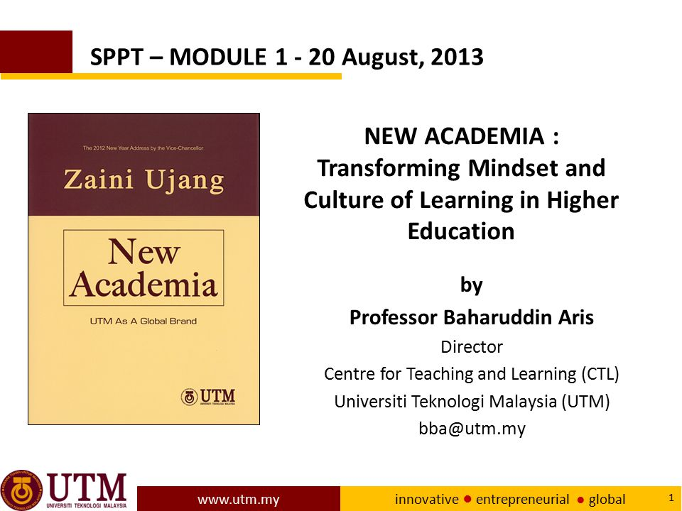 www.utm.my innovative ● entrepreneurial ● global 62 Research in evidence-based learning ● The presentations and discussions related to Job Creation and New Pedagogy during ICTLHE 2012 in conjunction with RCEE & RHEd 2012 include: ● Key industry players suggested graduates, among other things, acquire generic or soft skills, must be able to create new jobs and create companies with new innovations.