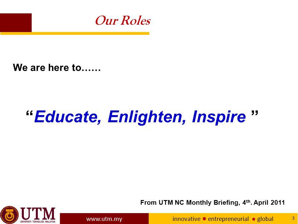www.utm.my innovative ● entrepreneurial ● global 24 UTM NEW ACADEMIA LEARNING INNOVATION MODEL Student Centred Learning and Blended Learning underpin UTM New Academia Learning Innovation Model.