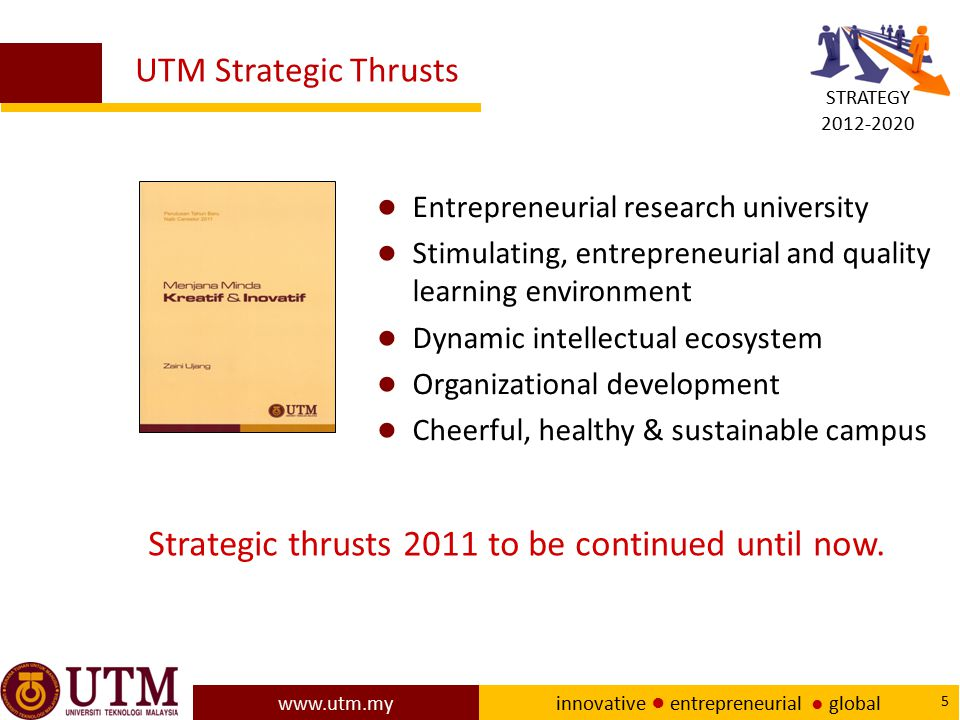 www.utm.my innovative ● entrepreneurial ● global 66 Concluding remarks Examples of research area innovations in teaching and learning in higher education include pedagogy or andragogy for UTM students, developing devices and researching its effectiveness for interactive learning, etc.