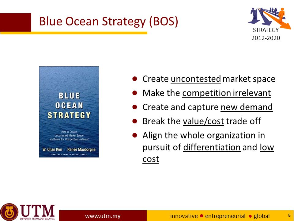 www.utm.my innovative ● entrepreneurial ● global 8 Blue Ocean Strategy (BOS) ● Create uncontested market space ● Make the competition irrelevant ● Cre