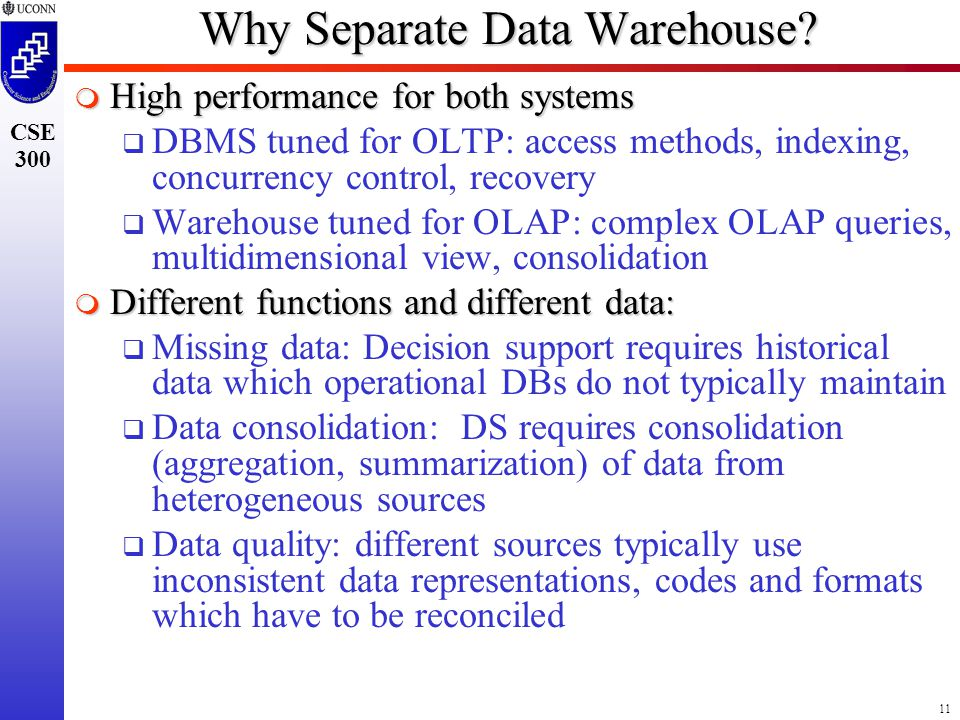 11 CSE 300 Why Separate Data Warehouse.
