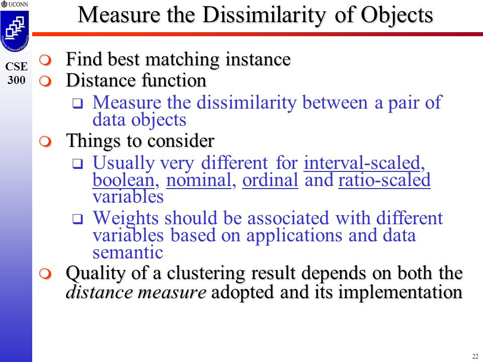 22 CSE 300 Measure the Dissimilarity of Objects  Find best matching instance  Distance function  Measure the dissimilarity between a pair of data objects  Things to consider  Usually very different for interval-scaled, boolean, nominal, ordinal and ratio-scaled variables  Weights should be associated with different variables based on applications and data semantic  Quality of a clustering result depends on both the distance measure adopted and its implementation