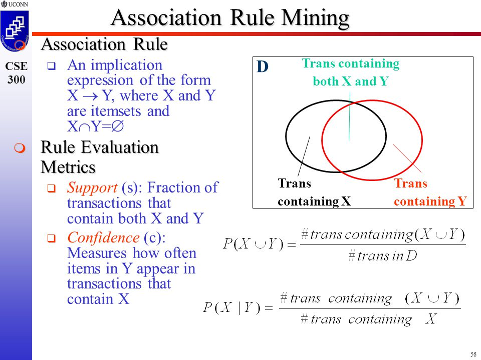 56 CSE 300 Association Rule Mining  Association Rule   An implication expression of the form X  Y, where X and Y are itemsets and X  Y=   Rule Evaluation Metrics   Support (s): Fraction of transactions that contain both X and Y   Confidence (c): Measures how often items in Y appear in transactions that contain X Trans containing Y Trans containing both X and Y Trans containing X D