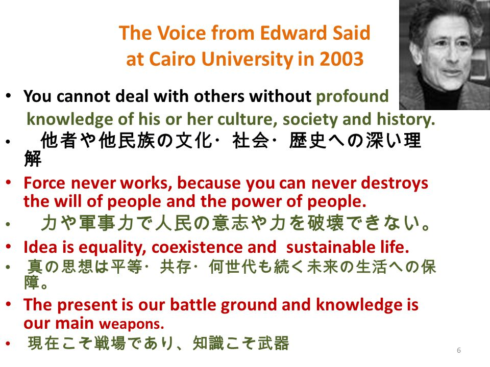 6 The Voice from Edward Said at Cairo University in 2003 You cannot deal with others without profound knowledge of his or her culture, society and his