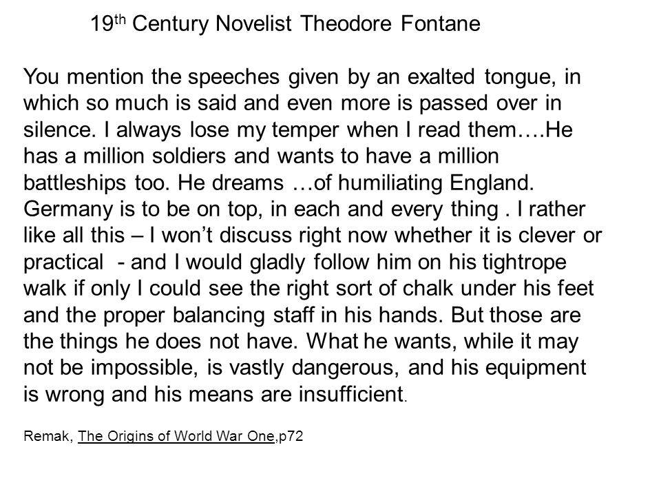 19 th Century Novelist Theodore Fontane You mention the speeches given by an exalted tongue, in which so much is said and even more is passed over in
