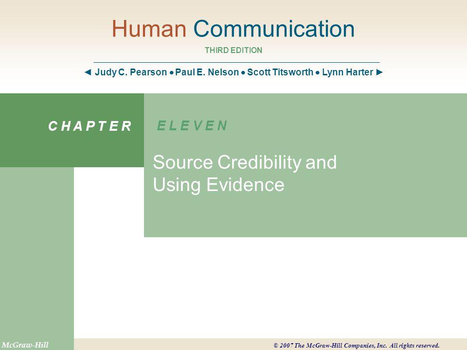 Human Communication THIRD EDITION ◄ Judy C. Pearson  Paul E.